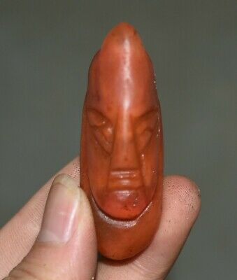 "2.4"" Good Hongshan Culture Old Red Crystal Carved People Man Face Amulet Pendant"