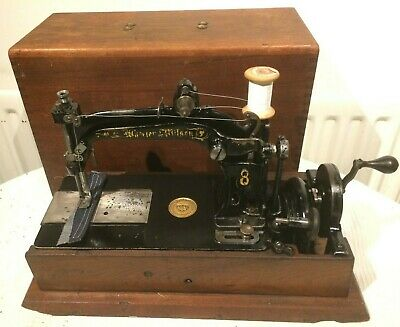 Rare Antique 1880s  Wheeler & Wilson 8 Sewing Machine (DENIM SAMPLE SEWN)