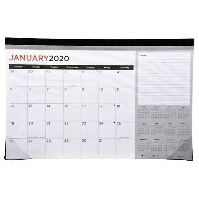 """2020 Monthly Desk Calendar 11"""" by 17"""" Gray, Black, Red, and White colors"""