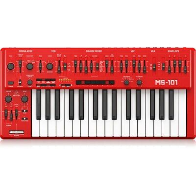Behringer MS-101-RD Analog Synthesizer with 32 Full-Size Keys, 3340 VCO with 4 S