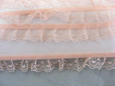 Gathered Lace  Apricot 10 metres (1001) Second