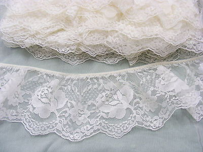 Gathered Ivory Lace x 10 metres  90mm wide (020) (4 Breaks)