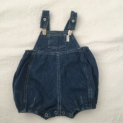 BABY BOYS Size 0 Vintage Marquise Denim Overalls Bloomer Dark Blue Suspender