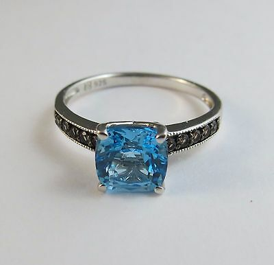 New Genuine Swiss Blue & Smoky Brown Topaz Ring 925 Sterling Silver Size 7 #006