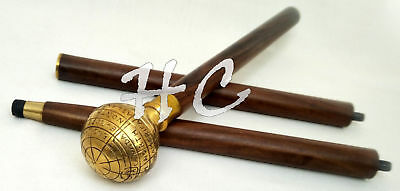 Solid Brass Globe Handle Walking Stick Victorian Style Vintage Wooden Canes New