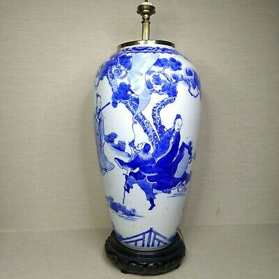 Antique Chinese blue and white porcelain vase, 18th-19th century.