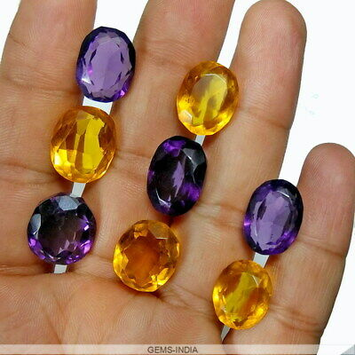 95.60 Ct/8 Pcs Hydro Citrine Amethyst Oval Cut Gemstones Lot For Jewelry making