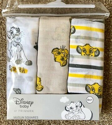 3 x DISNEY THE LION KING BABY MUSLIN SQUARES BURP CLOTH BIB UNISEX NEW PRIMARK