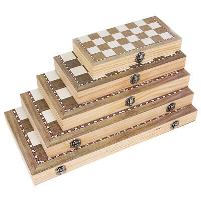 3 in1 Kids Wooden Folding Chess Boards Game Backgammon Checkers Draughts Set Toy
