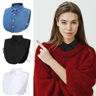 US Women Detachable Elegant Dickey Blouse Shirt Cotton Fake False Choker Collar