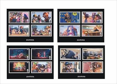 2017 DISNEY ZOOTOPIA 8 SOUVENIR SHEETS unperforated cartoons animation