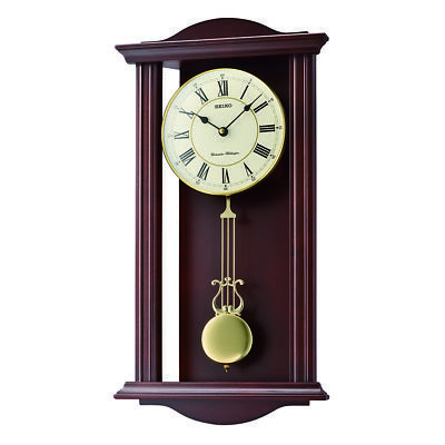 Seiko Westminster/Whittington Dual Chime Wall Clock with Pendulam - Brown