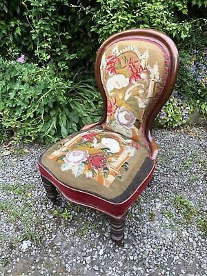 Unique Antique Mahogany Victorian Woolwork Low Nursing Chair With Casters