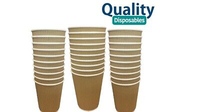 8/12 oz KRAFT STRONG RIPPLE DISPOSABLE PAPER COFFEE CUPS