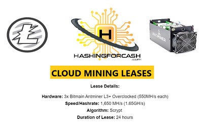 1,650 MH/s ANTMINER L3+ ASIC / 1 day Litecoin Mining Rental / Contract Lease LTC