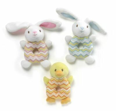 NEW GUND Baby Plush Rattle Pink or Blue Bunny Yellow Duck !NEW!