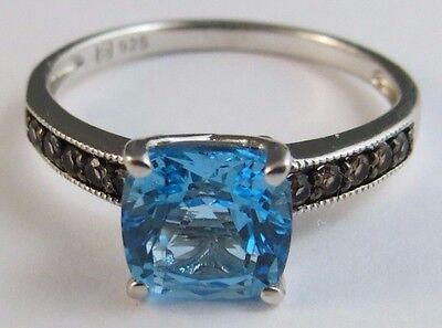 New Genuine Swiss Blue & Smoky Brown Topaz  Ring 925 Sterling Silver Size 7 #401
