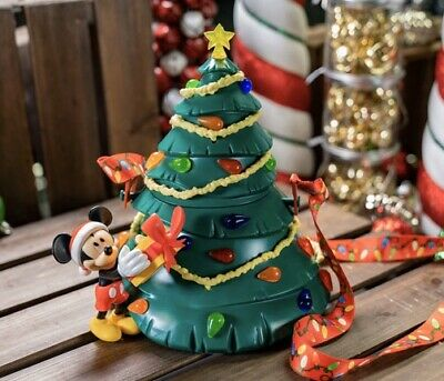 Disney Parks Happy Holidays Popcorn Bucket Mickey & Minnie Christmas Tree 2019