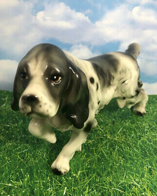 Vintage Springer Spaniel Black & White Porcelain Figurine Shamrock Japan Mark 6K
