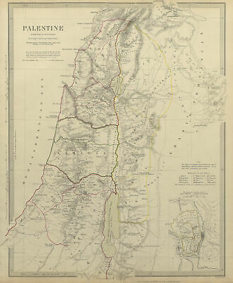 PALESTINE. in the time of Our Saviour Jesus; Ancient Jerusalem. SDUK 1844 map