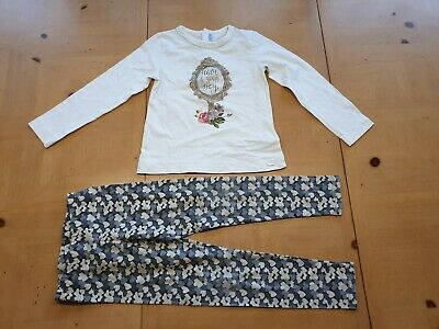 Mayoral Designer Girl's White Long Sleeve Top, Leggings Outfit Size 5 - 6 Years