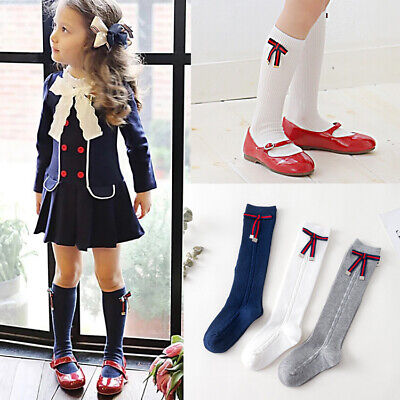 Layla Bow Girls Kids Children Knee High School Wedding Party Socks 1-8y