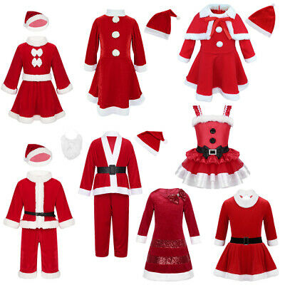Girls Boys Santa Claus Costume Kids Christmas Fancy Dress Outfits Xmas Children