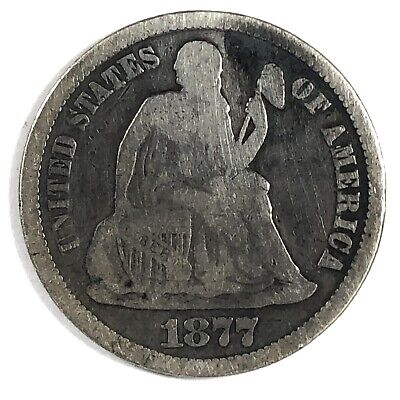 1877-CC United States Silver Seated Liberty Dime - Fine