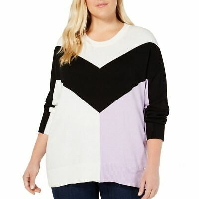 TOMMY HILFIGER NEW Women's Cotton Plus Size Colorblocked Sweater Top TEDO