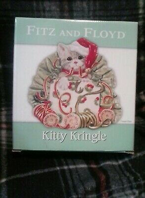 FITZ AND FLOYD KITTY KRINGLE Cat Christmas Canape Plate Serving Dish 2009