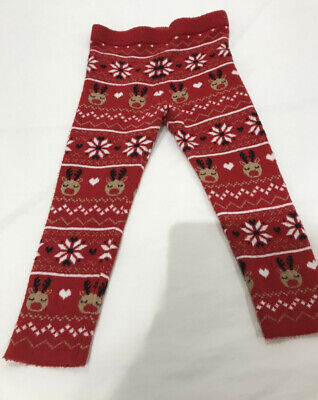 Primark Christmas Girls Red Reindeer Knitted Leggings Size 18- 24 Months