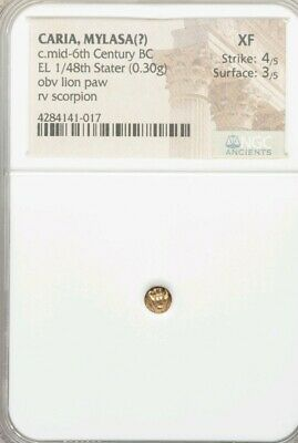 Caria, Mylasa 1/48th Stater Lion Paw & Scorpion NGC XF 4/3 Ancient Electrum Coin