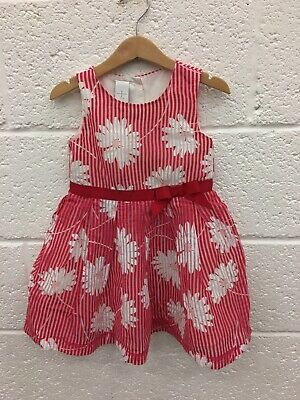Jasper Conran Girls Dress Size 2-3 Years White/red Party