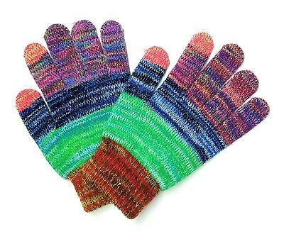 Rainbow Delight Colorful Knit Touch Screen Texting Gloves