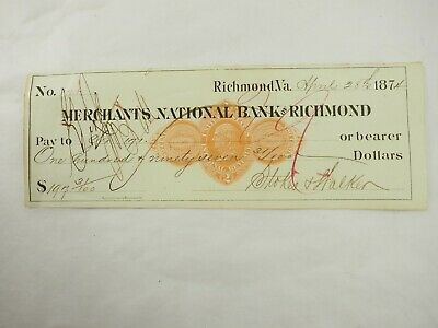 Merchants Nacional Banco de Richmond VA Banco Draft a Portador 197.31 Abril 1874