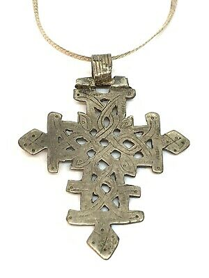 Antique Large Cross Pendant Necklace Chain Vintage Sterling Silver