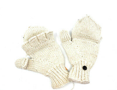 Hand Knit Fingerless Wool Texting Mittens Fleece Lined Made in Nepal  IVORY