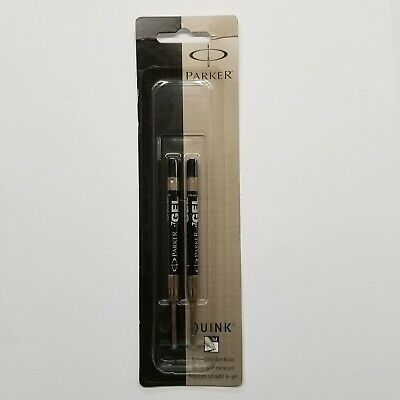 Parker Quink Medium Black Gel Pen Refill 2-Pack (30525) - Fits 'Parker-Style' Pe