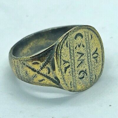 Ancient Or Medieval Brass Ring European Metal Detector Find Artifact Antique M