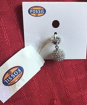 Fossil Stainless Steel Silver Tone Glitz Ball Charm Jf00351040