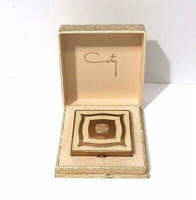 Vintage Coty Compact Art Deco Enamel Gold Tone Double Compact With Original Box