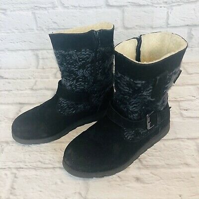 Muk Luks Womens Size 7 Sweater Knit Black Gray Boots Side Zip Buckle i6q