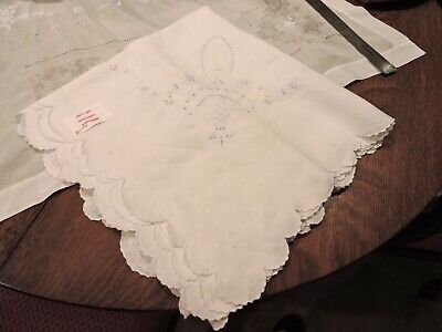 Vintage White Table Cloth  68 x 68 Square Amazing Linen  Scalloped Edge Hand Md.