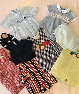 Lot of Vintage Baby Boys Rompers/ Sz 9-12 Months  8 Pieces