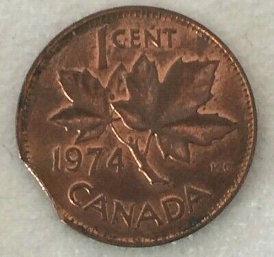 Canada 1974 One Cent Clipped Planchet