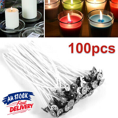 100pcs Cotton with Sustainers Wick Core AU Smoke Pre candle wicks Low Tabs Waxed