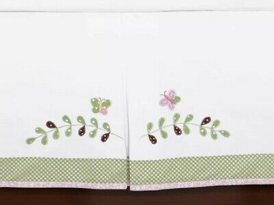"POTTERY BARN KIDS BABY HALEY CRIB BED SKIRT GREEN PINK GINGHAM 16"" Owl BROOKE"