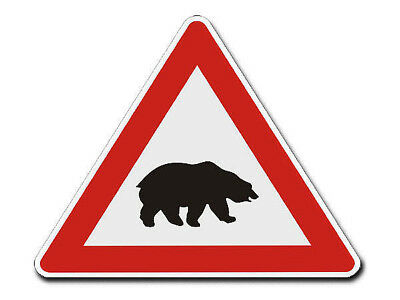 Triangular Traffic Sign with Motif - Bear - S757