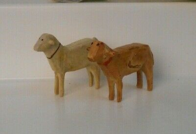 Vintage German Erzgebirge Hand Carved Wooden Figures 2 Large Sheep