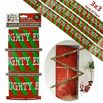 Naughty Elf Elves Up To Mischief Behavin' Badly Christmas Decoration Tape